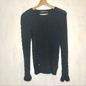 NEW Lauren RL Cable Knit Flare Cuff Sweater M